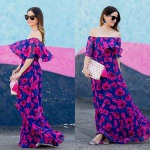Donna Morgan Off-Shoulder Floral Chiffon Dress